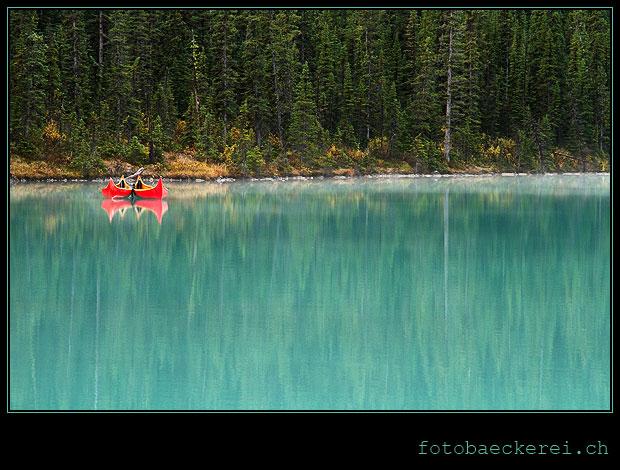 Lake Louise Boot Spiegelung Banff National Park