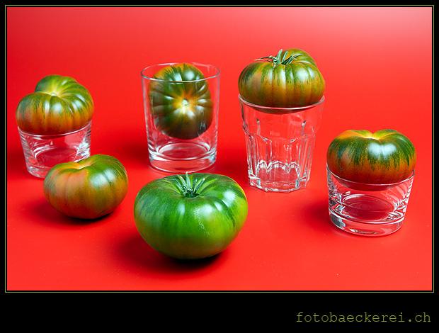 Woche 7 Raf Tomaten auf Glaesern